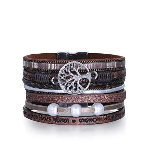 Pulsera de moda Pulsera de cuero multicapa Pulsera de mano con hebilla magnética para mujer (marrón)