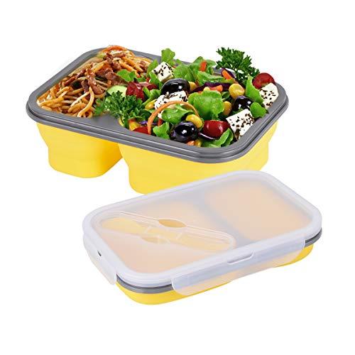 Hivexagon Contenedores de Almacenaje de Alimentos de Silicona Plegable Almuerzo Caja para Bento sin BPA para Acampar, Senderismo