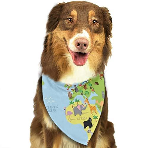 N/D Kinder-Kopftuch, Tier-Weltkarte, Cartoon, Berg, Wald, personalisierbar, bunt, Dreiecks-Lätzchen, Zubehör für Haustier Hunde