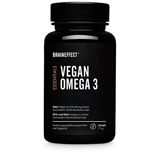 BRAINEFFECT VEGAN OMEGA 3 I hochkonzentrierte Omega-3-Fettsäuren aus Algen I reich an EPA & DHA I 60 Kapseln