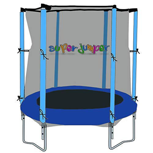 Super Jumper Trampolino con Tappetino Elastico, Rete di Sicurezza e Bordo di Protezione | Mini Tondo Inground Rettangolare | Trampolino da Giardino | Trampolino all'aperto | Indoor | Certificato GS