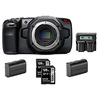 Blackmagic Design Pocket Cinema Camera 6K - Bundle with Lexar Professional 128GB 1000x UHSII U3 SDXC Memory Card (2 Pack), 2 Pack Spare Battery, Dual Charger from Blackmagic Design