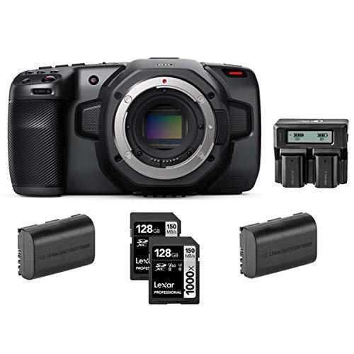 Blackmagic Design Pocket Cinema Camera 6K - Bundle with Lexar Professional 128GB 1000x UHSII U3 SDXC Memory Card (2 Pack), 2 Pack Spare Battery, Dual Charger