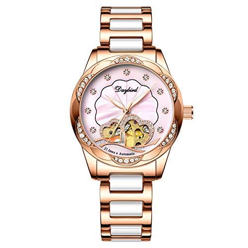 RORIOS Damen Uhren Automatikuhr Mechanische Uhr Wasserdicht Leuchtend Uhr mit Edelstahl Armband Mode Diamant Armbanduhr Pink