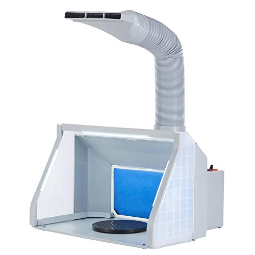 CO-Z Lighted Airbrush Paint Spray Booth with Dual Fans, Portable Paint Booth for Airbrushing with 3 LED Lights, Turntable and Exhaust Hose, Airbrush Spray Booth Kit for Painting Model Craft Hobby DIY