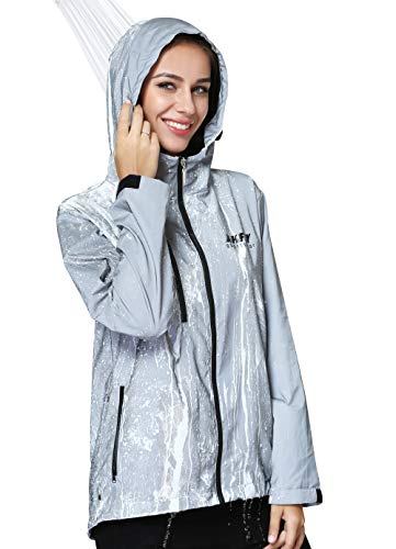 AKFLY Reflective Jacket with Hoodie and Waterproof Wind Breaker for Men Women Running Cycling Motorcycle Safety Jacket(Large) Silver