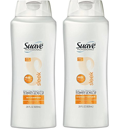 Suave Shampoo and Conditioner For Dry Hair Ultra Sleek and Smooth With Silk Protein and Vitamin E Complex 28 oz 2 Count