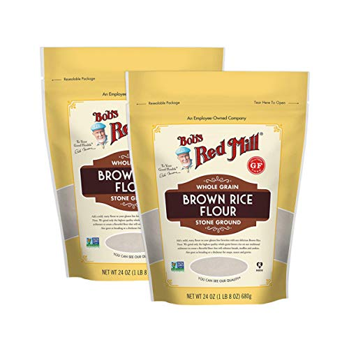 Bob's Red Mill Certified Gluten Free Stoned Ground Whole Grain Brown Rice Flour - 100% Vegan, Kosher Pareve, Non GMO. Perfect for bread and muffins. 24 OZ Pack of 2