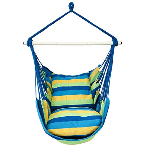 Highwild Hammock Chair Hanging Rope Swing - Max 500 Lbs - 2 Cushions Included - Steel Spreader Bar with Anti-Slip Rings - for Any Indoor or Outdoor Spaces (Blue Striped)