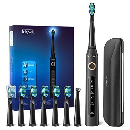 Cepillo de dientes eléctricos, 4 Horas de Recarga la Duración es de 30 Días,Cepillo de Dientes de Viaje con Bolso de Viaje y 8 Cabezas de Cepillo de Dientes Negro para Fairywill FW-507+420