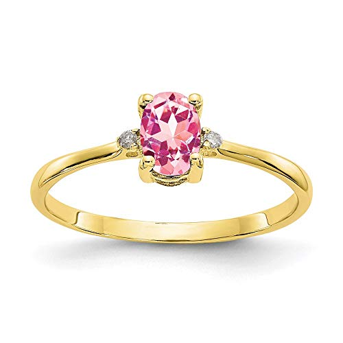 10k Yellow Gold Diamond Pink Tourmaline Birthstone Band Ring Size 6.00 Stone October Oval Fine Jewelry For Women Gifts For Her