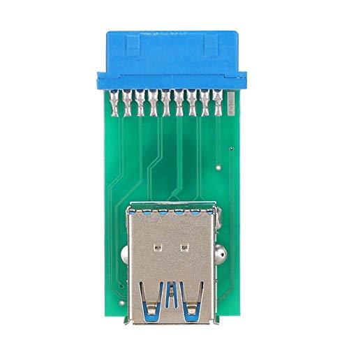 ASHATA Adapterkop, 20pin USB 3.0 naar 2 USB 3.0-poort adapter converter Superpositie adapterkop, gemaakt van milieuvriendelijke materialen, sterke storingscapaciteit