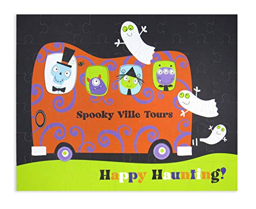 Clearstory Halloween Jigsaw Puzzles for Kids, 54-Piece Puzzle, Cute Monster and Witch Bus Illustrations, Made of Thick 3-Ply Card Stock (10x8 Inches, Spooky Villa Tours)