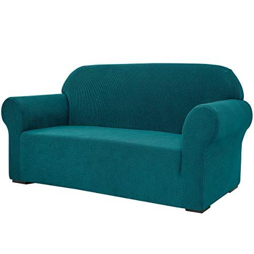 subrtex Stretch-sofföverdrag, 1 styck, för vardagsrum, fåtölj, mjuka möbler, tvättbar, soffa, skyddsöverdrag för barn/hundar (loveseat, blågrön)