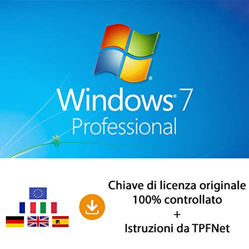 MS Windows 7 Pro 32 bit e 64 bit - Chiave di Licenza Originale per Posta e E-Mail + Guida di TPFNet® - Spedizione max. 60min