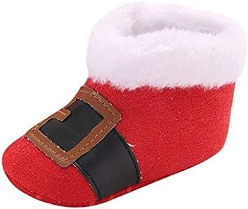 LHWY Navidad Zapatillas de Estar por casa Primeros Pasos para Niños Niñas Bebé Unisex Recien Nacido Suela Blanda Antideslizante Calentito Zapatos de Algodón Botas de Nieve Invierno Rojo 12