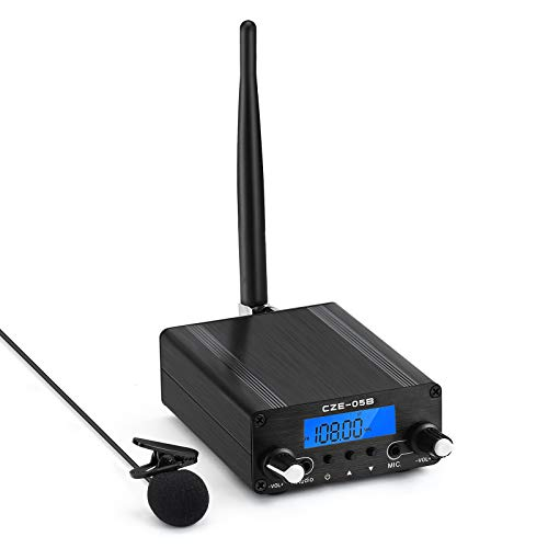 FM Transmitter for Church, APROTII 0.5W/0.1W FM Broadcast Transmitter 76~108MHz with Microphone and Antenna, Broadcast Long Range 1000ft, for Church Parking Lot Service, Drive-in Movie/Concert