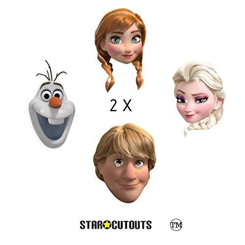 Star Cutouts SMP406 Offizielle Masken, Motiv: Anna, Olaf, Elsa und Kristoff, 8 Stück, perfekt für Frozen Fans, Partytüten und Dekorationen, mehrfarbig
