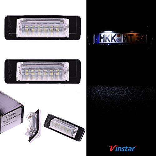 VINSTAR LED Kennzeichenbeleuchtung E-geprüft CAN-Bus 18 LEDs je Modul 6000 Kelvin kompatibel mit W202 06.1997-2001, W210 1995-2002