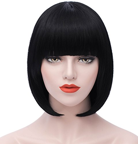 "Mersi Short Bob Wigs for Women 12"" Straight Cosplay Wig with Bangs Synthetic Wigs"