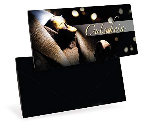 Gutscheinkarten (10 Stück) - Geschenkgutscheine Einzelhandel, Männermode, Weihnachten - DIN lang Faltkarte verschließbar, blanko Vordruck zum Eintragen der Werte