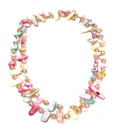 BRANDELIA Collares Largos de Colores Mujer Bisutería de Nácar y Perlas de Cristal, Colores Dulces