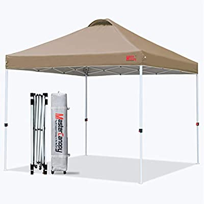 MASTERCANOPY Pop-up Canopy Tent Commercial Instant Canopy with Wheeled Bag,Canopy Sandbags x4,Tent Stakesx4 (8'x8',Khaki)