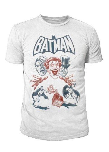 Batman Retro Comic Batman Villains - Camiseta para hombre, diseño de Batman, color blanco Blanco M