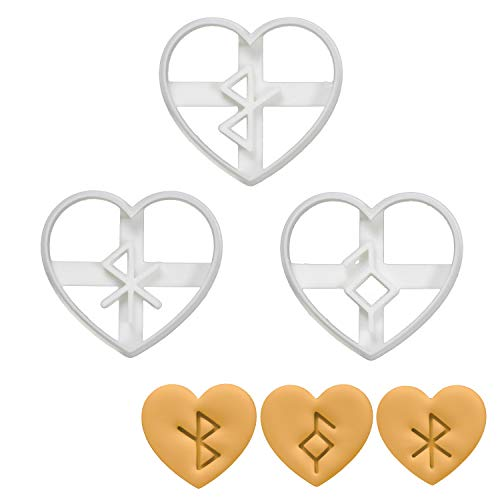 Set of 3 Nordic Rune in Heart cookie cutters (Designs: Healing, Good Health, & Love), 3 pieces - Bakerlogy