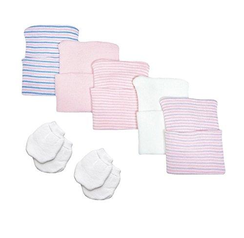 5 Piece Hospital Hat & Mitten Set for Newborn Baby (Girl) by Nurses Choice