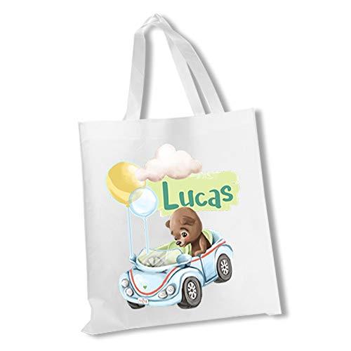 wolga-kreativ Stofftasche Einkaufstasche Bär Auto mit Name Stoffbeutel Kindertasche Sportbeutel Schuhbeutel Wäschebeutel Stoffsäckchen Jutebeutel Schultertasche Mädchen Junge