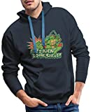 Spreadshirt TMNT Turtles Raphael Spruch Kick Some Shell Männer Premium Hoodie, M, Navy