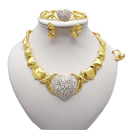 QXZ-WOLFBERRY Etiopía 24k Color de Oro Dubai Love Forma de corazón Conjuntos de Joyas Mujeres African Party Boda Regalos Collar Pendientes Pendientes Set (Metal Color : BJ394-I6)