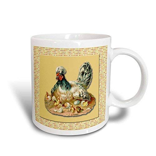 9_1 Taza de cerámica con diseño de lunares con texto 'Mother Hen Sitting On Nest with Chicks Hatching On Country (11 oz)