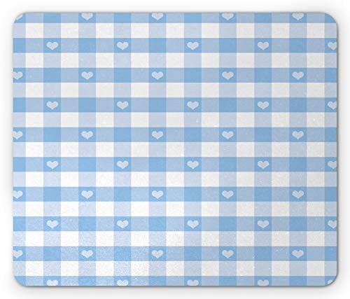 Ambesonne Checkered Mouse Pad, Gingham Motif with Little Hearts Pastel Blue Shower Theme, Rectangle Non-Slip Rubber Mousepad, Standard Size, Pale Blue White