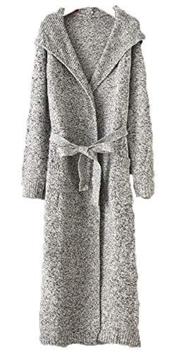 HX fashion Dames Vest Mode Lange Herfst Comfortabele Maten Winterjassen Losse Lange Mouw Maxi Vest Grijze V-Hals Met Riem Bovenkleding Hooded Warme Herfst Jas