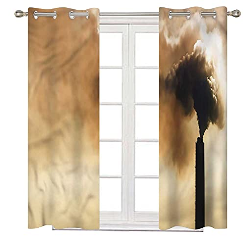 Industrial Noise Cancelling Curtains 84 Inch Long Heavy Smoke Thermal Insulated Room Darkening Bedroom Curtains W72 x H84