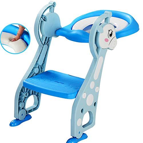 N \ A Azul Acople para WC Patrón de CiervoToilet Training Seat con Escalera,Capacidad de Carga 75kg,Seguro, Antideslizante Adaptador Aseo para Niños