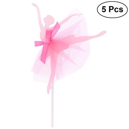 BESTOYARD 5 unids Bailarina Girls Cupcake Picks cumpleaños Cake Topper Cocktail Decoración Sticks Wedding Party Party Supplies (Rojo)