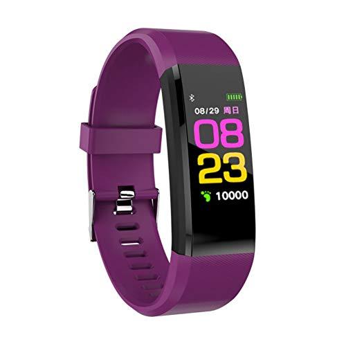 WISREMT Reloj Inteligente Impermeable 115 Plus con Monitor de presión Arterial y frecuencia cardíaca, Púrpura