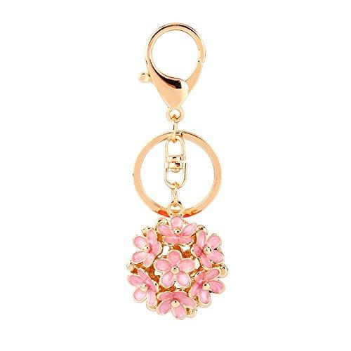 Llavero Lindo de la Flor del Diamante Artificial con Colgante con Dije de Cristal Rosa Llavero Colorido Monedero de Flores para Bolso Monedero Coche Regalo Cinco Colores Decoración