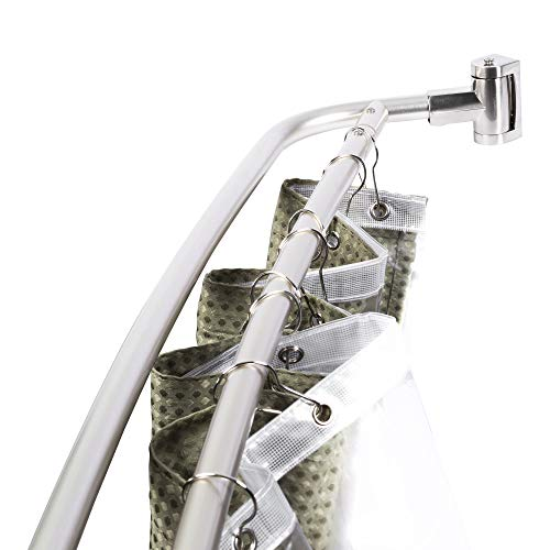 JS Jackson Supplies Double Curved Shower Rod, Metal Construction, Adjustable Between 44 to 70 Inches, Aluminum Rods and Zinc Mounting Hardware, Quality Modern Bathware, Brushed Nickel Finish
