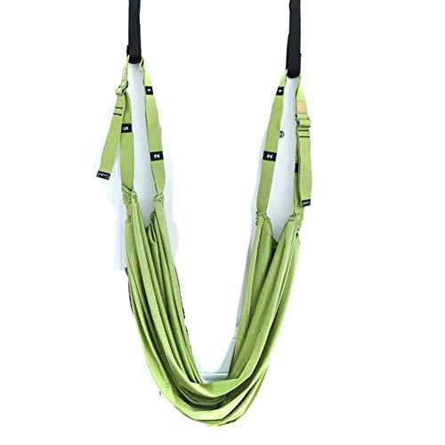 Cobeky Correa aérea de yoga, correa de fitness para cintura y pierna estiramiento, oscilación de la puerta, correa ajustable en la parte posterior, yoga, verde