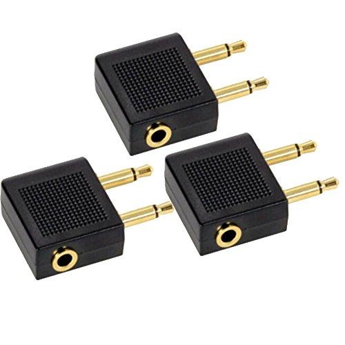 Flugzeug Adapter 3 Stück,Airline Adapter Goldüberzogen,Airline Airplane Flight Adapter für Kopfhörer 2 * 3.5mm Mono Klinke,Stecker auf 3.5mm Dual Channel Stereo Buchse(schwarz)