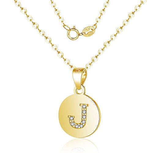 Canarea Dames- en meisjeshalsketting, echt 925 sterling zilver met zirkonia-alfabet-hanger, eenvoudige Y-ketting, persoonlijke ronde halsketting voor dames, vriendin, dochter goud-j