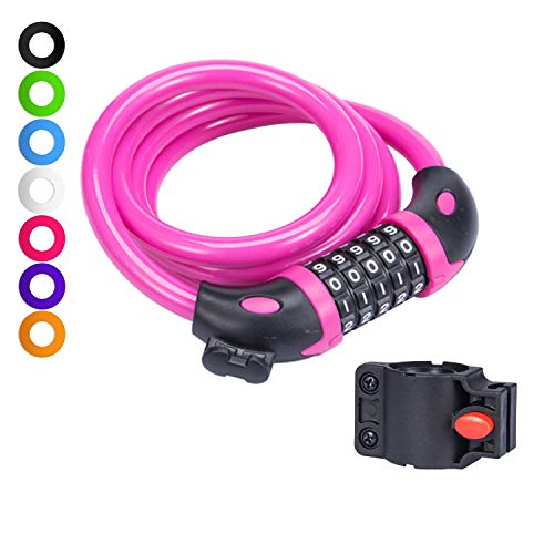 willceal Bike Lock Bicycle Chain Lock,with 5-Digit Resettable Number and Mounting Bracket,Combination Coiling Cable Lock Best for Bicycle Outdoors - 4 Feet x 1/2 Inch (Pink)
