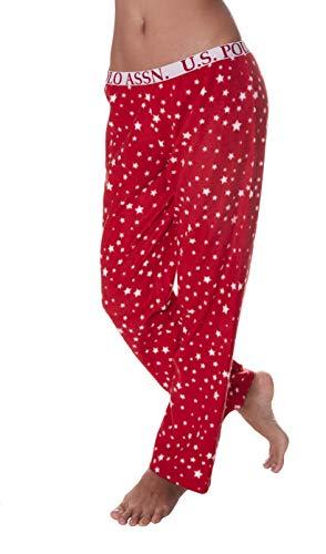 U.S. Polo Assn. Womens Super Soft Star Fleece Print Lounge Sleepwear Pajama Pant Red Medium