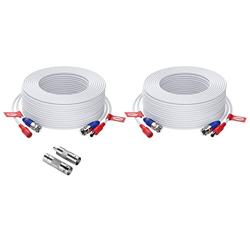 ZOSI Cable de Conexión 20m de BNC Video para Kit de Cámara de Vigilancia Sistema Seguridad DVR Hogar (2 Pack Blanco)