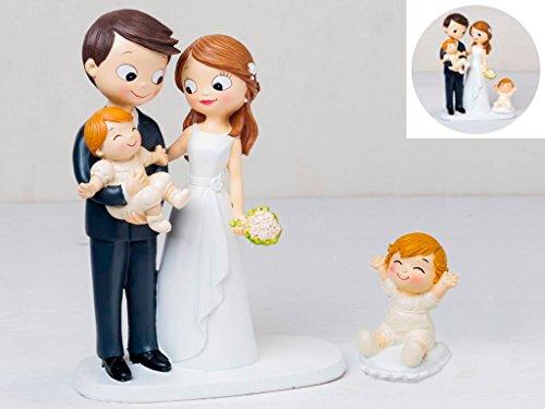 Momparler1870 Figura novios tarta con bebé a brazos y bebé sentado en cojín