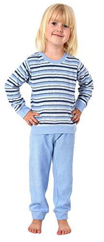 Süsser Mädchen Frottee Pyjama Schlafanzug mit Bündchen in Streifenoptik - 291 701 13 572, Größe:98, Farbe:hellblau